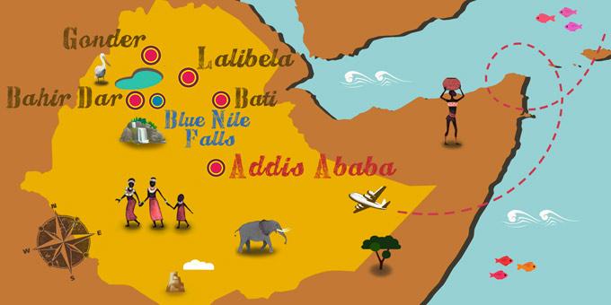 Äthiopien - Karte