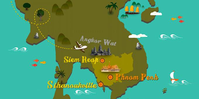 Kambodscha - Karte