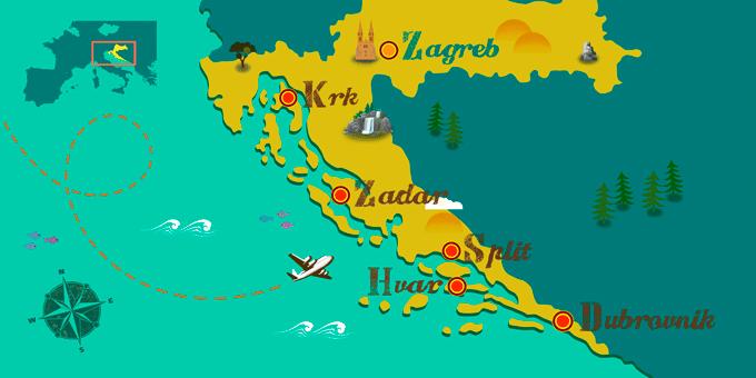 Kroatien - Karte