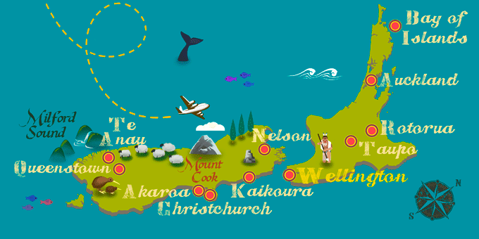 Neuseeland - Karte