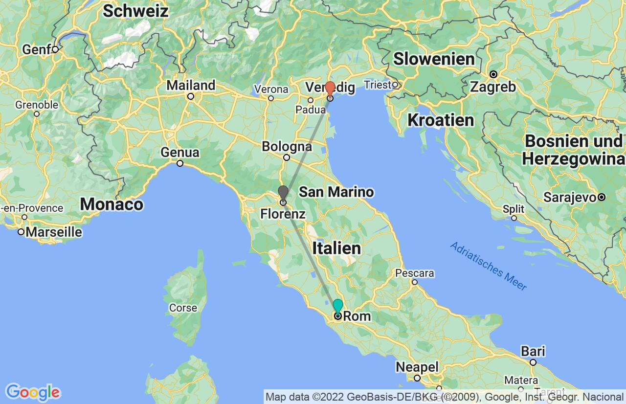 Karte mit Reiseroute in Italien