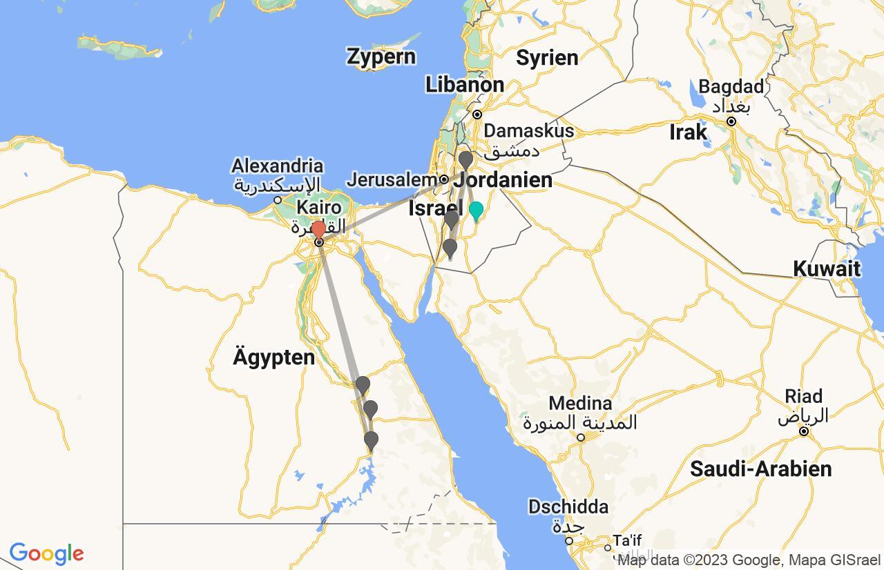Karte mit Reiseroute in Jordanien und Ägypten