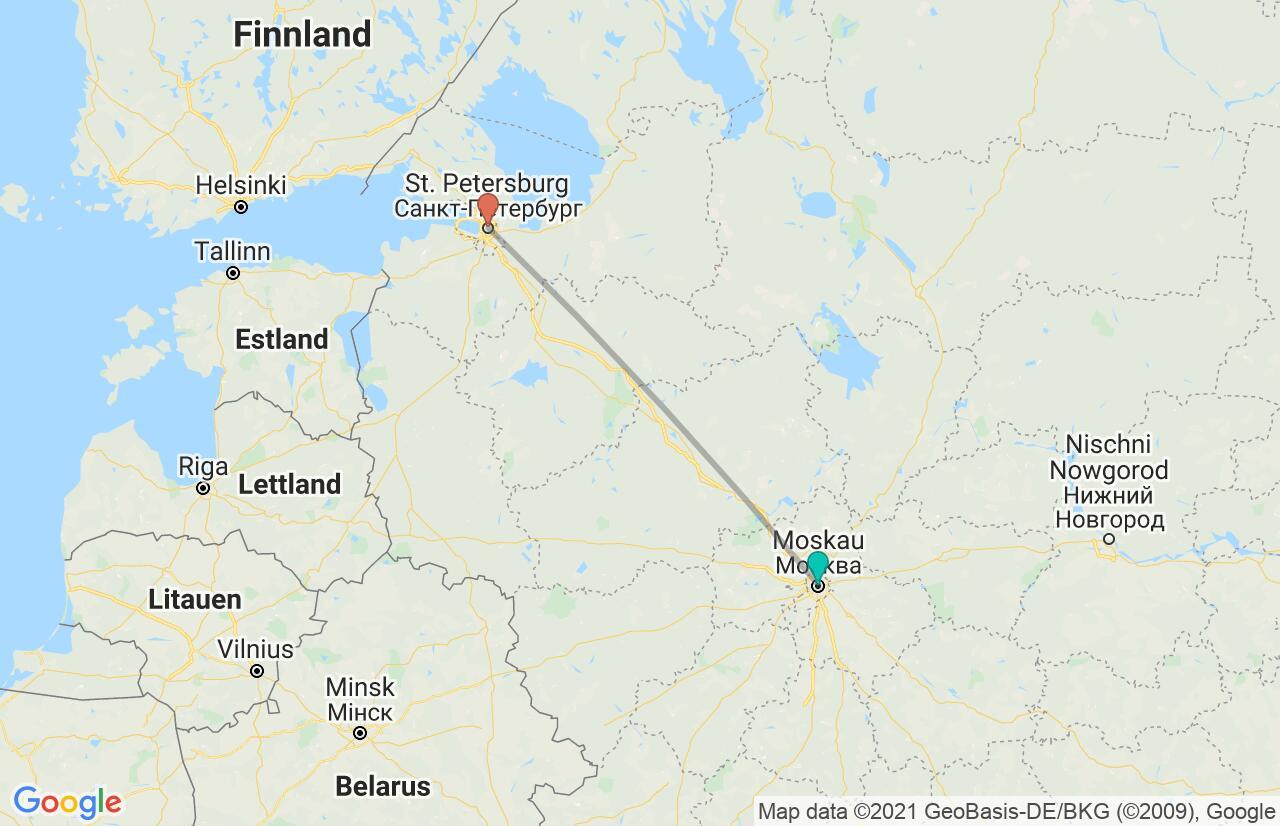 Karte mit Reiseroute in Russland