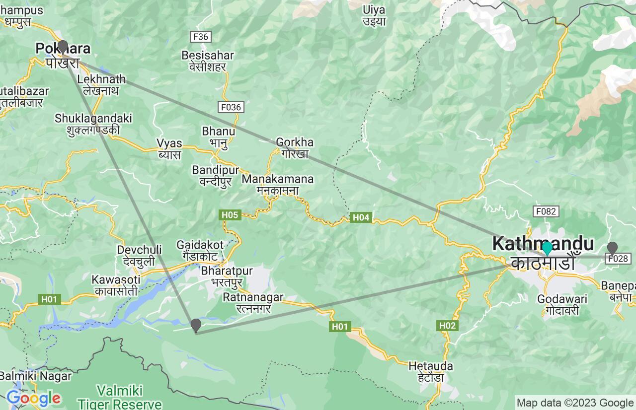 Karte mit Reiseroute in Nepal