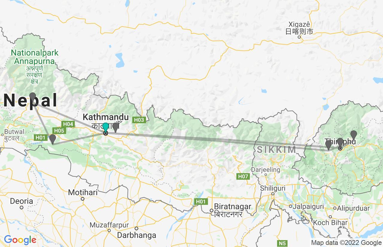 Karte mit Reiseroute in Nepal & Bhutan