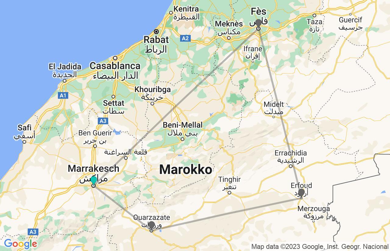 Karte mit Reiseroute in Marokko