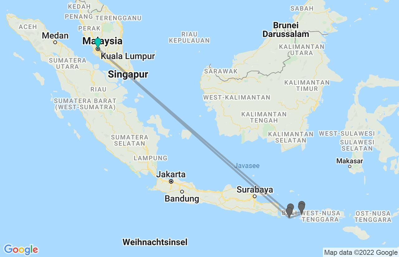Karte mit Reiseroute in Malaysia & Indonesien