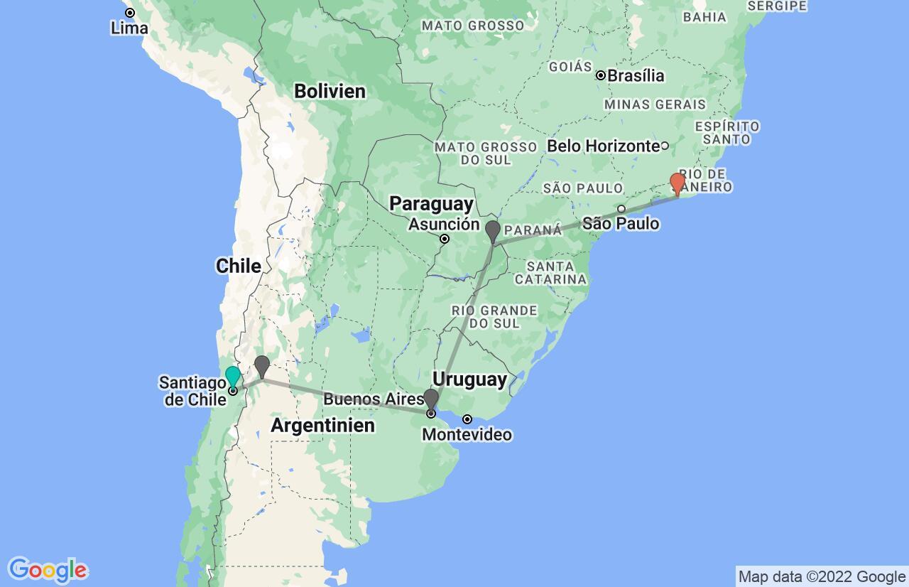 Karte mit Reiseroute in Chile, Argentinien & Brasilien